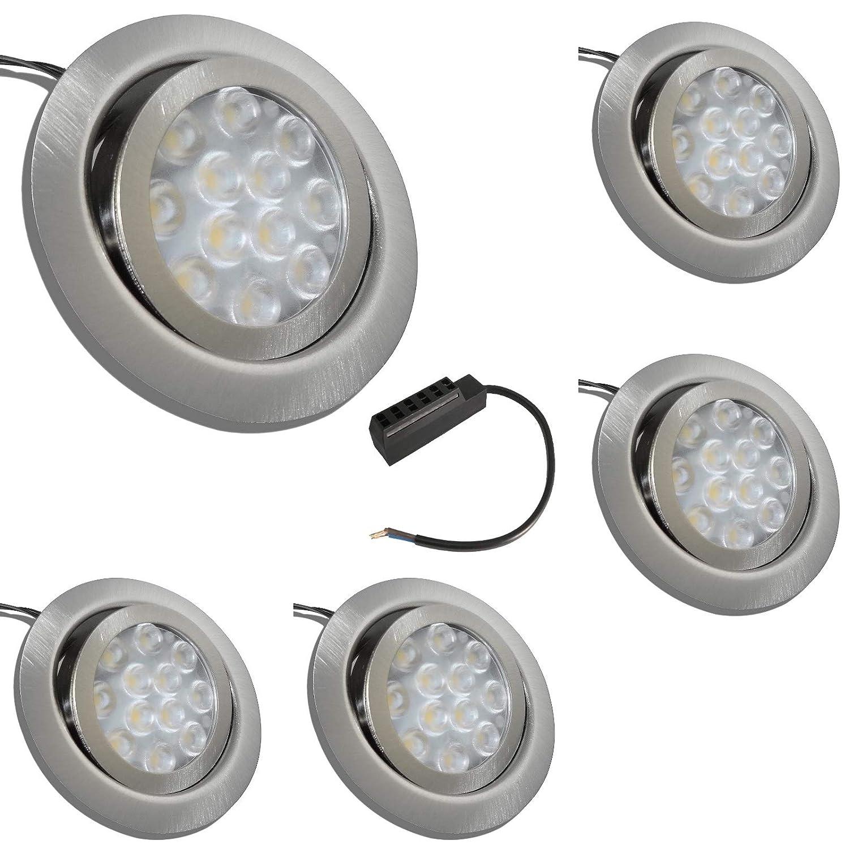 5 Stück LED Möbeleinbauspot Finja 12 Volt 3 Watt inkl. Anschlusskabel mit AMP Stecker und AMP Grüneiler