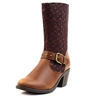 Women's Vintage Lace Overlay Buckle-Strap Cowgirl Mid-Calf Boots