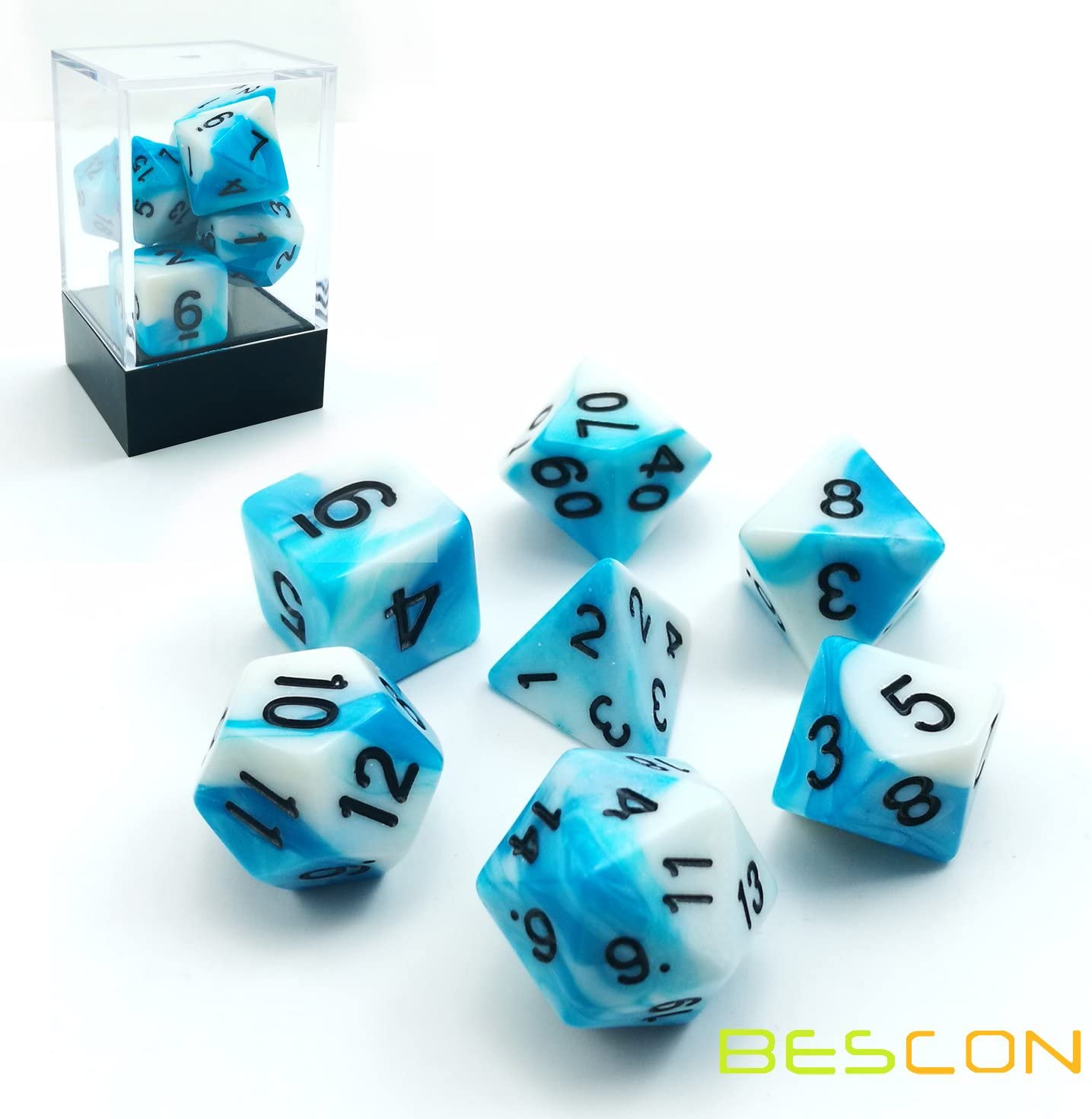 Bescon Gemini Polyhedral Dice Set Icy Track, Two-Tone RPG Dice Set of 7 d4 d6 d8 d10 d12 d20 d% Brick Box Pack: Amazon.es: Juguetes y juegos