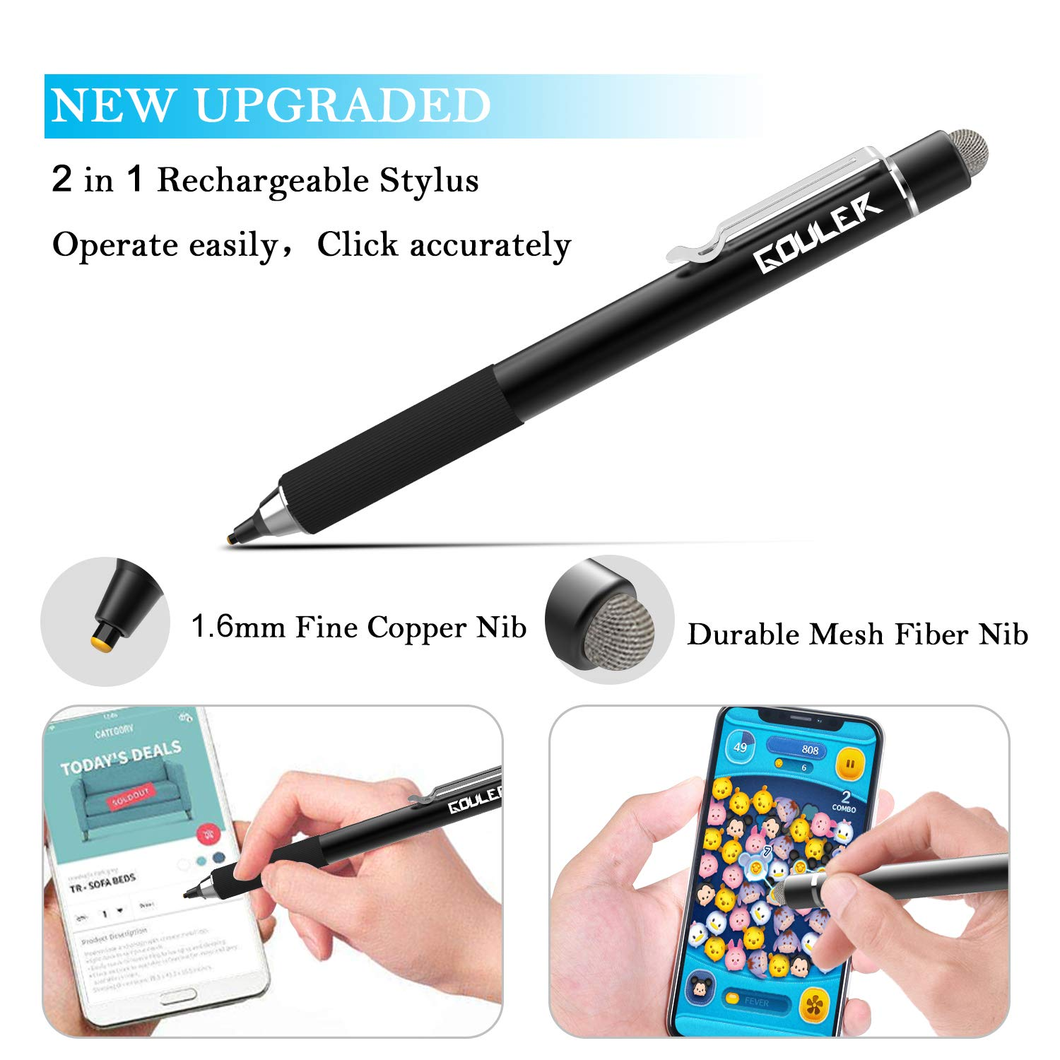 Gouler High-precision Stylus Pen with 2 in 1 Copper & Mesh Fine Tip Rechargeable Capacitive Digital Pen for iPad, iPhone, Android and Most of Touch Screen Devices by Gouler (Image #2)