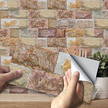 9pcs 3D Wall Tile Stickers Kitchen Bathroom Mosaic Self-adhesive Decor 20x10cm