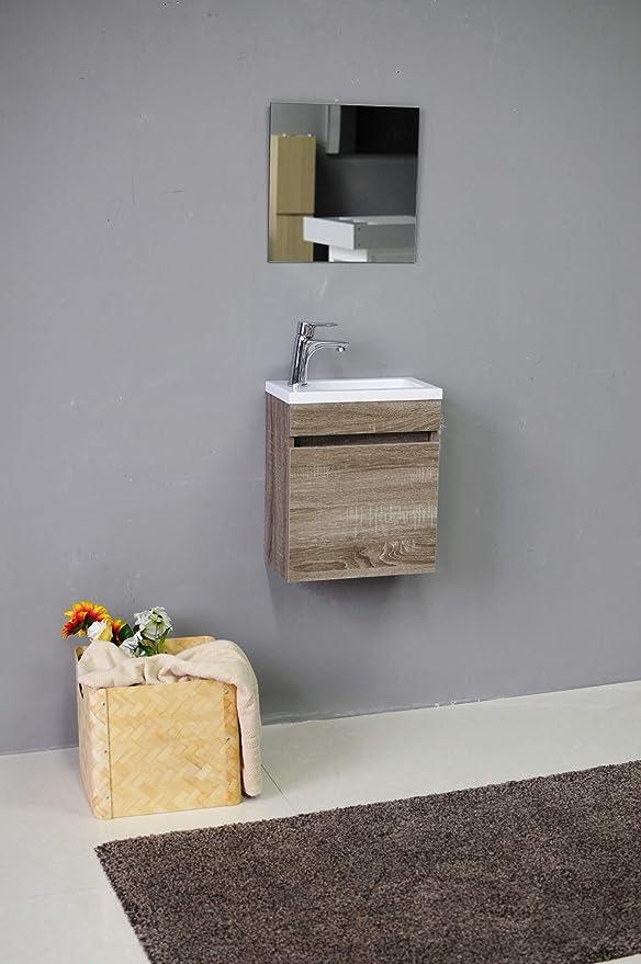 STARBATH PLUS - Conjunto Mueble de Baño Suspendido MDF 40x22, Lavabo Resina, Espejo Oslo Nogal
