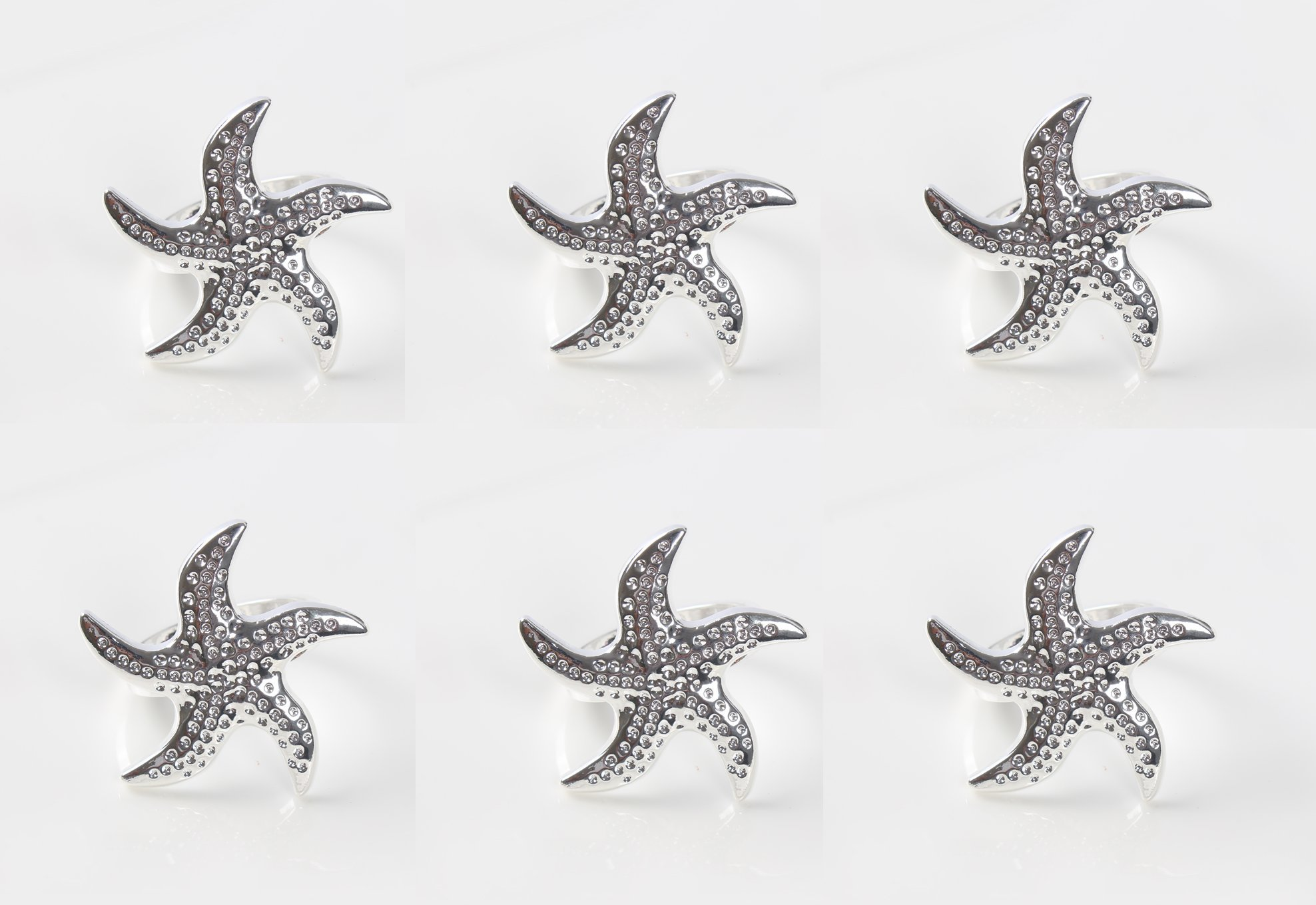 Astra shop Beautiful Starfish Napkin Rings Buckles for Dinners, Parties, Wedding Supplies, Set of 6