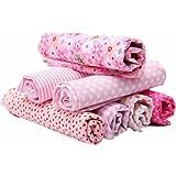 KING DO WAY 7 Pz Tessuti Stampato Cotone per Cucire Stoffa a Metro Stoffa per patchwork 50cmX50cm Floreale-Rosa