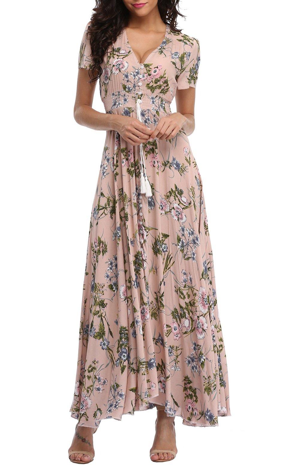 VintageClothing Women's Floral Print Maxi Dresses Boho Button Up Split Beach Party Dress,Pale Dogwood,Large by VintageClothing (Image #2)