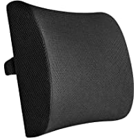 BloodyRippa Memory Foam Lumbar Support Back Cushion Pillow with 3D Breathable Mesh Cover, Adjustable Strap, Good for Lower Back Pain Relief, Compatible with Office Chair, Car Seat, Recliner, Black