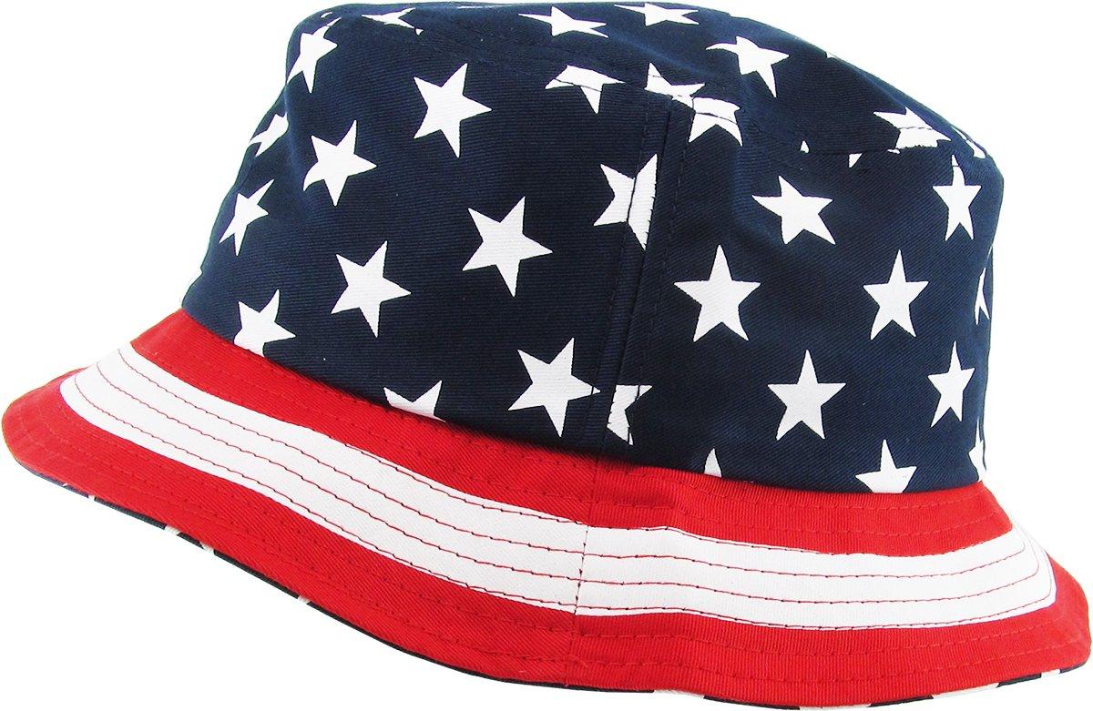 KBM-021 NAV USA American Flag Print Bucket Hat Cotton Summer Boonie by KBETHOS (Image #2)