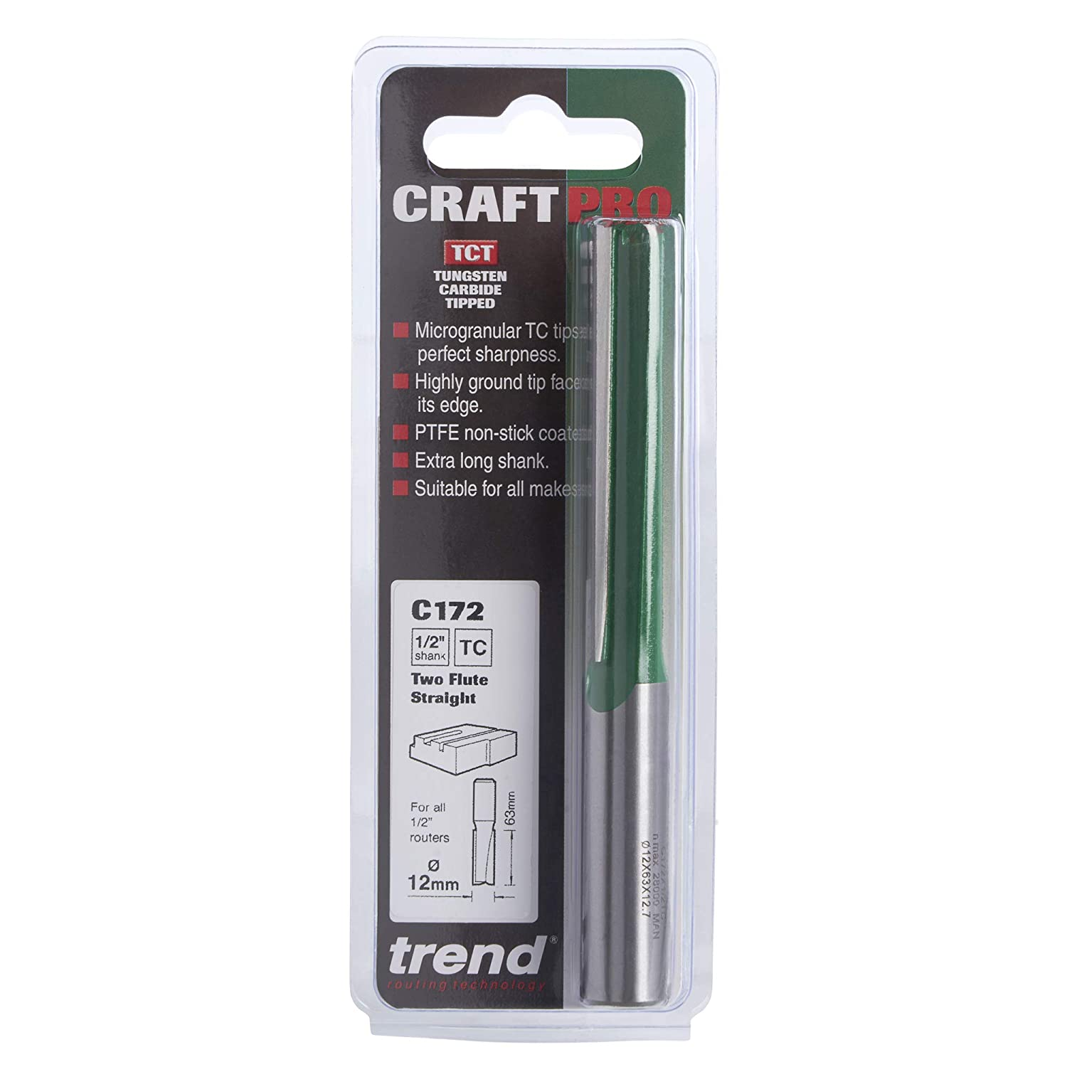 Trend C172X1//2TC Two Flute 12MM Dia X 63MM Cut