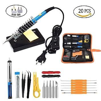 60W 220V soldador eléctrico temperatura ajustable soldadura reparación de herramientas Kit con 5 puntas soldadura alambre pinzas enchufe de la UE (Kit de ...