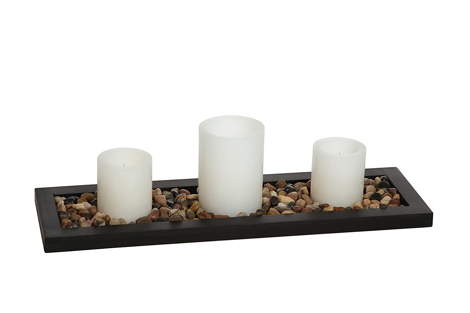 Hosley's Flameless LED Candle Gift Set - Set of 3 Pillar Candles, Decorative Pebbles and Wood Tray. Ideal Gift for Home Office, Wedding, Party, Family Room, Spa, Aromatherapy Candle Gardens HG Global FBA-H62854ON-1-EA