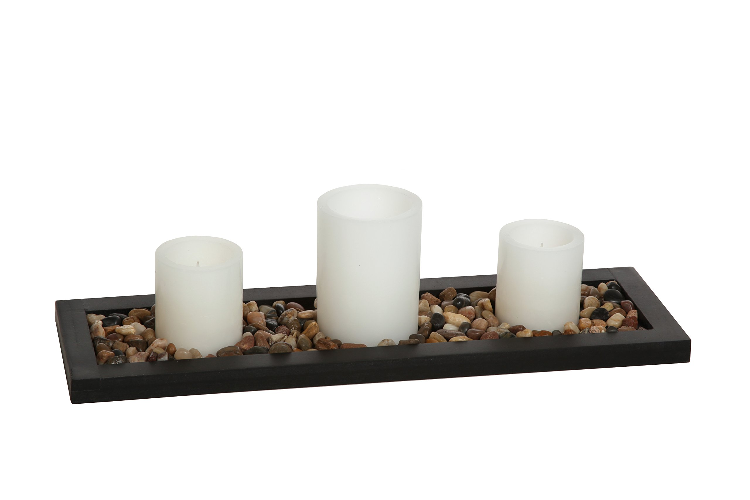 Hosley's Flameless LED Candle Gift Set - Set of 3 Pillar Candles, Decorative Pebbles and Wood Tray. Ideal Gift for Home Office, Wedding, Party, Family Room, Spa, Aromatherapy, Candle Gardens O6