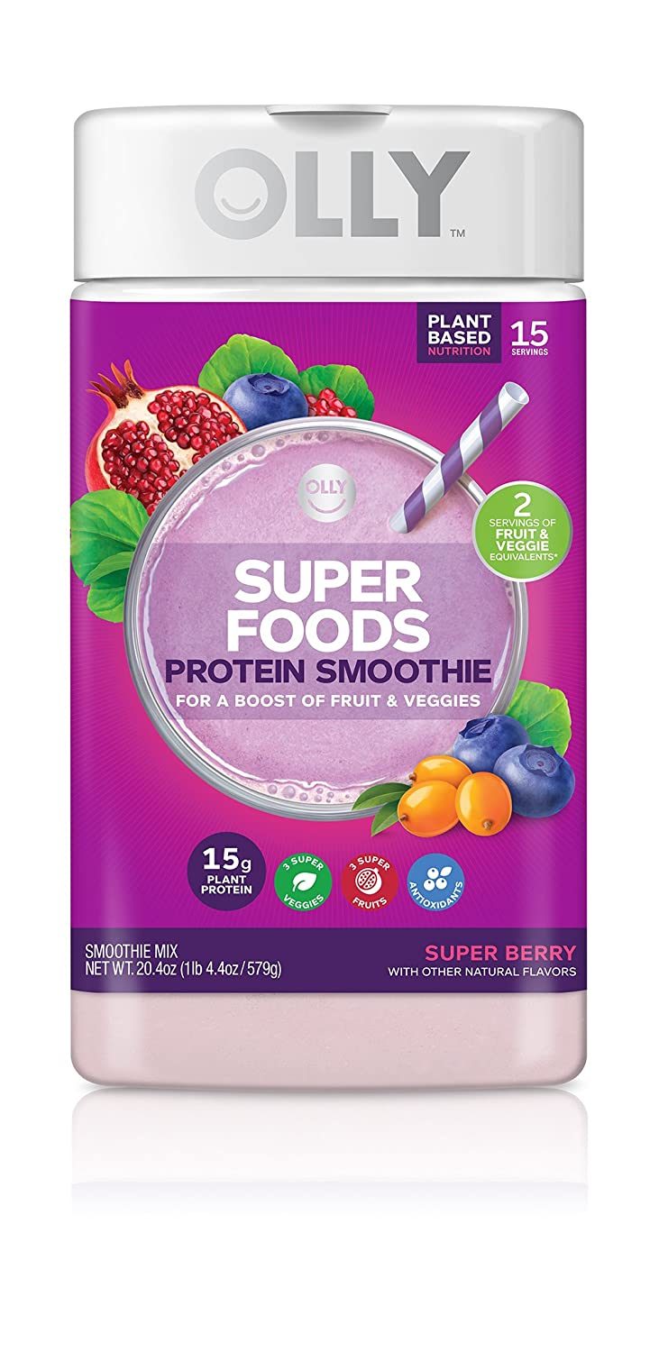 OLLY Super Foods Protein Powder, 15g Plant-Based Protein, Super Berry, 20.4oz 15 Servings