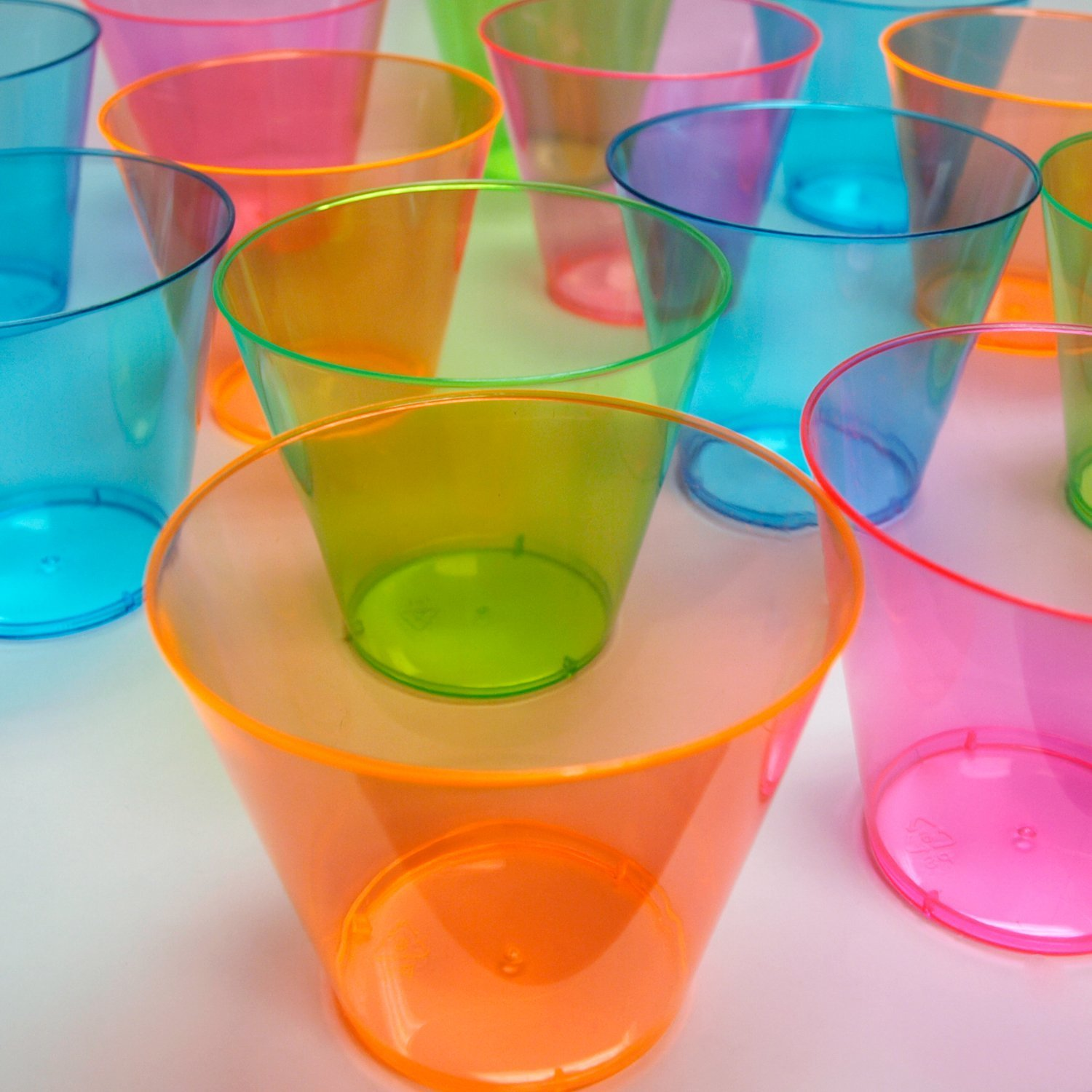Party Essentials Hard Plastic 9-Ounce Party Cups/Old Fashioned Tumblers, 200-Count, Assorted Neon by Party Essentials (Image #2)