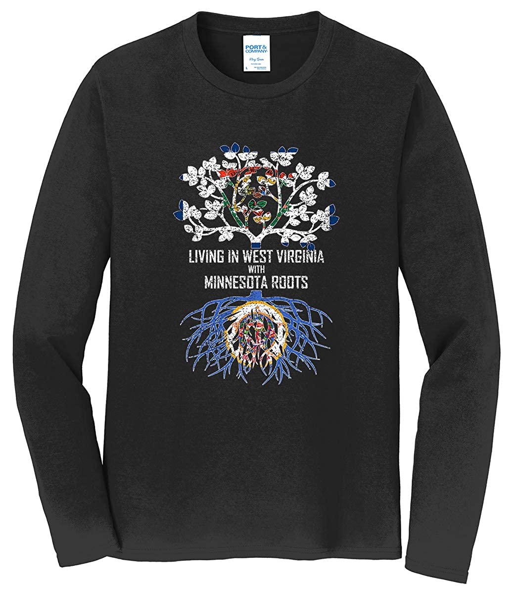 Tenacitee Mens Living in West Virginia with Minnesota Roots T-Shirt