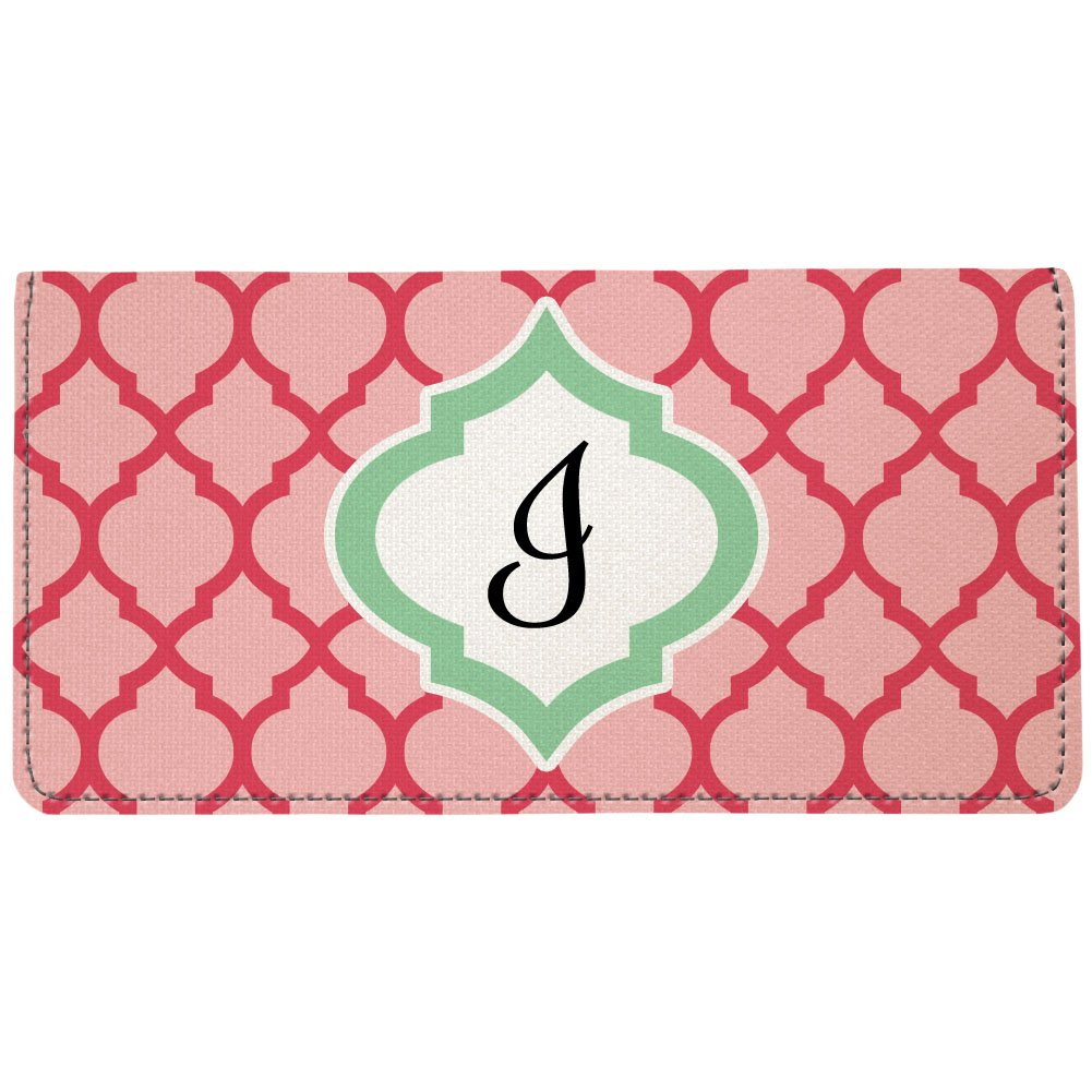 Snaptotes Personalized Monogram Pink Green Watermelon Moroccan Checkbook Cover