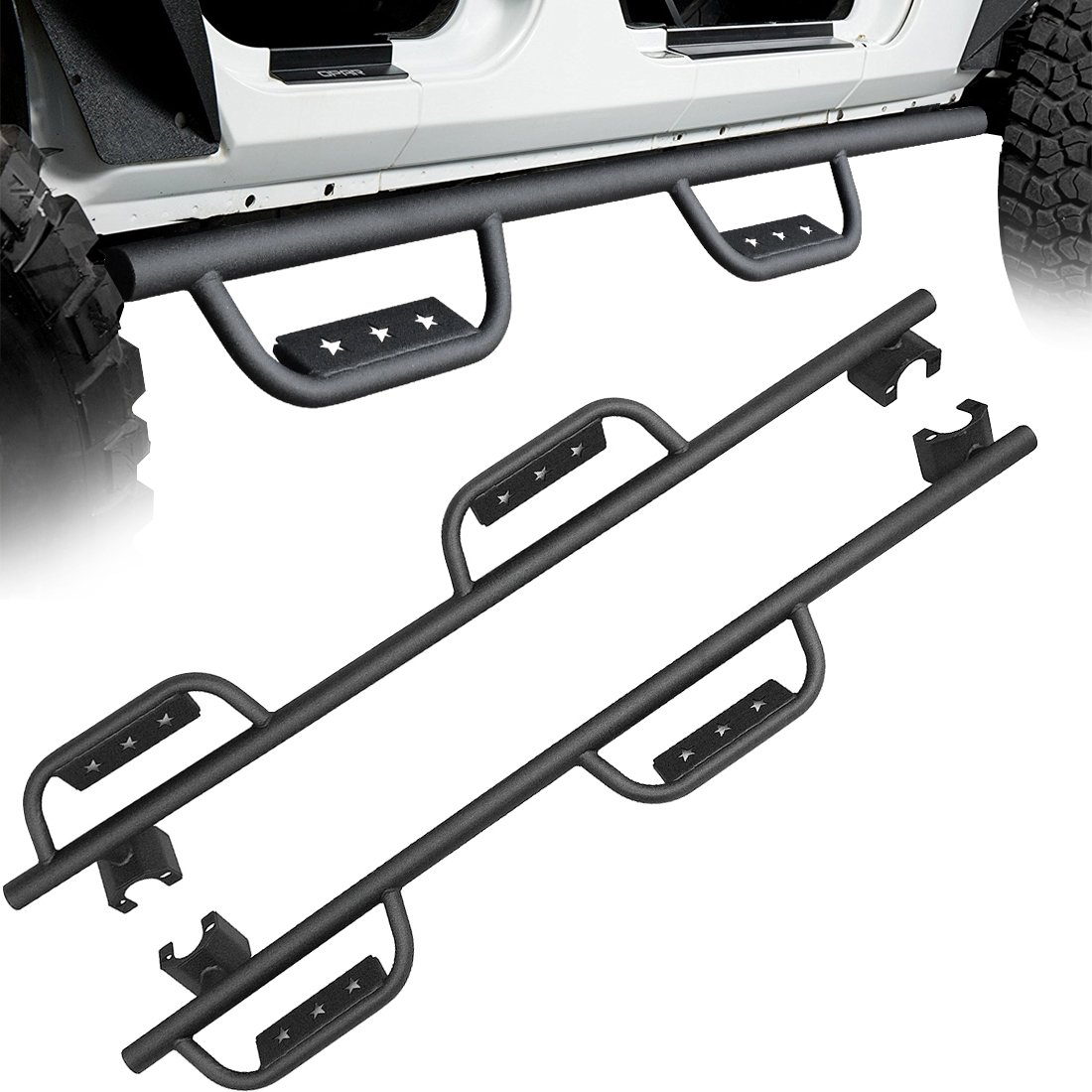 AUTOSAVER88 Foot Pegs Compatible for 07-17 Jeep Wrangler JK & JK Unlimited 2 4DR Black Steel Front Foot Rest Pedal Kick Panel Passenger and Driver Side - Pair