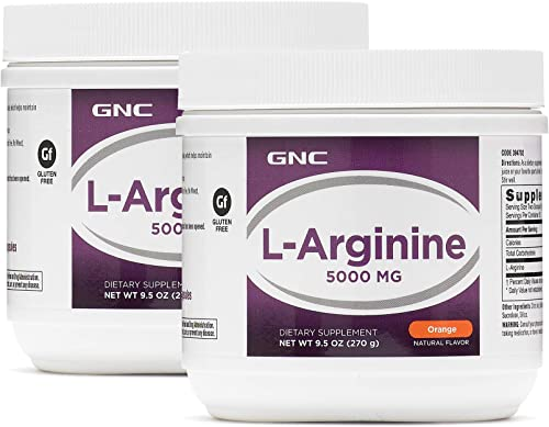 GNC L-Arginine 5000mg – Orange, Twin Pack, 30 Servings per Container, Increases Nitric Oxide Productioin