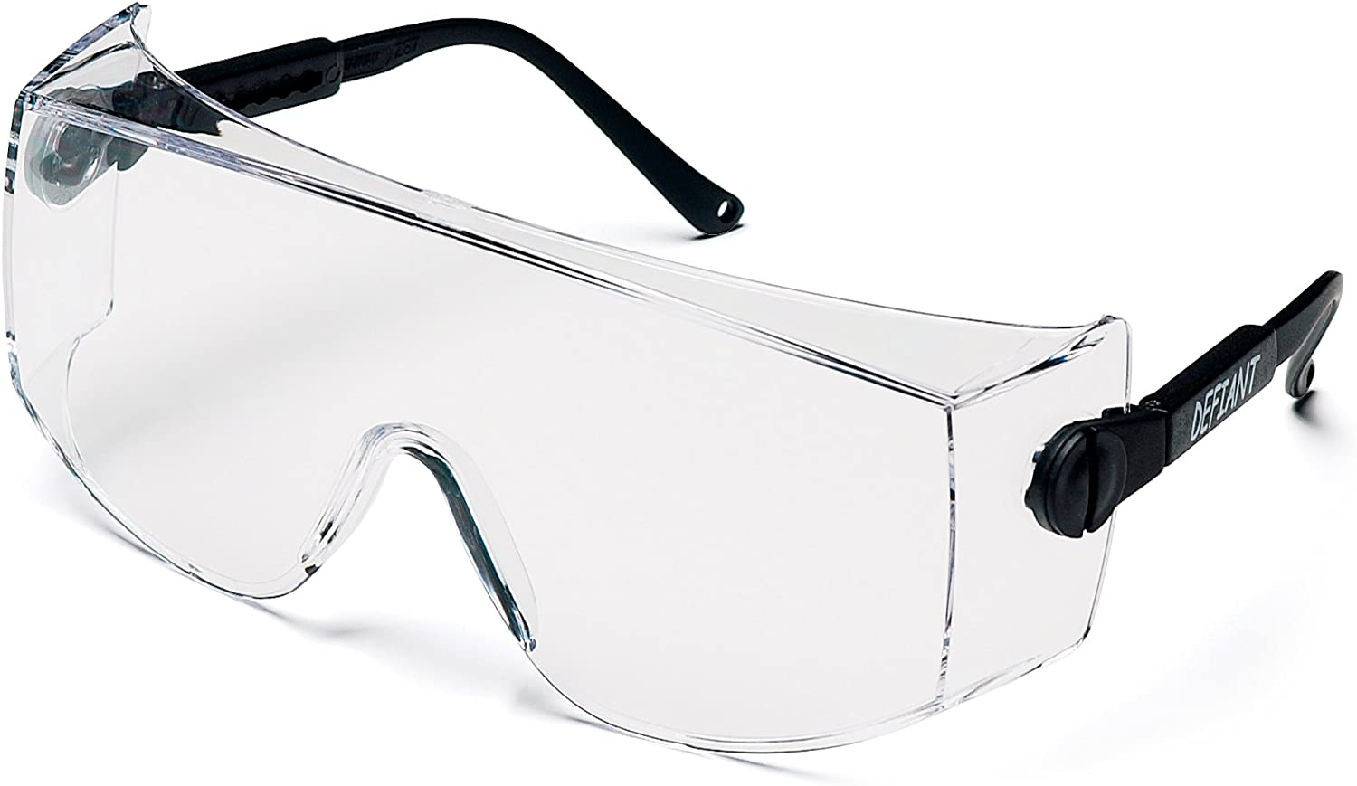 Pyramex Defiant Safety Eyewear, Jumbo Size Clear Lens with Black Temples : Hunting Safety Glasses : Sports & Outdoors
