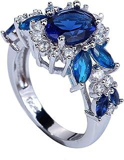 YAZILIND l'gant Royaux Fleur De Cristal Topaze Anneaux Bijoux De Mariage Pour Les Femmes Taille 6 1058R4468