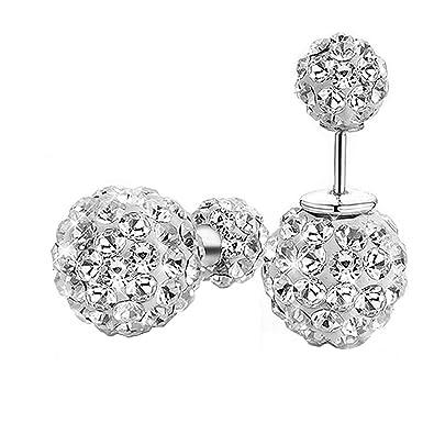 Twinmond Fashion Womens 925 Silver Double Crystal Ball Stud Earrings (Straight Type) zIE0dAkM
