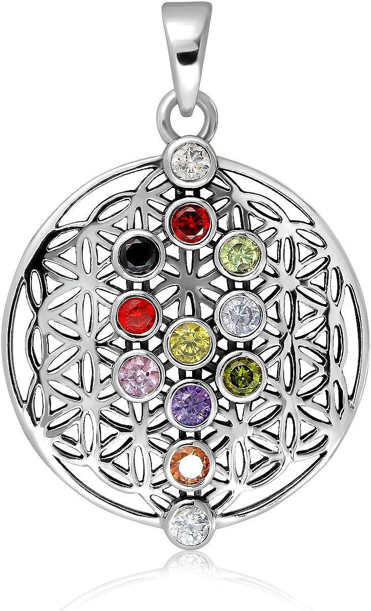 Sistakno - Colgante de plata de ley 925 con diseño de flor de la vida, 12 piedras preciosas, circonitas cúbicas, meditación antigua