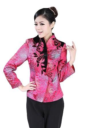 d688814ff Amazon.com: Jtc Women Chinese Jacket Long Sleeve Flowers: Clothing