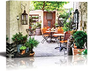 "wall26 - Cafe Terrace in Small European City - Canvas Art Wall Decor - 24"" x 36"""