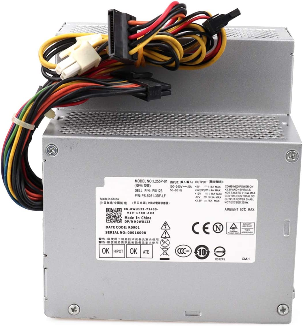 Zoravson 255W F255E-01 N249M Power Supply Replacement for Dell Optiplex 580 760 780 960 980 DT PSU AC255AD-00 L255P-01 D255P-00 V6V76 RM110
