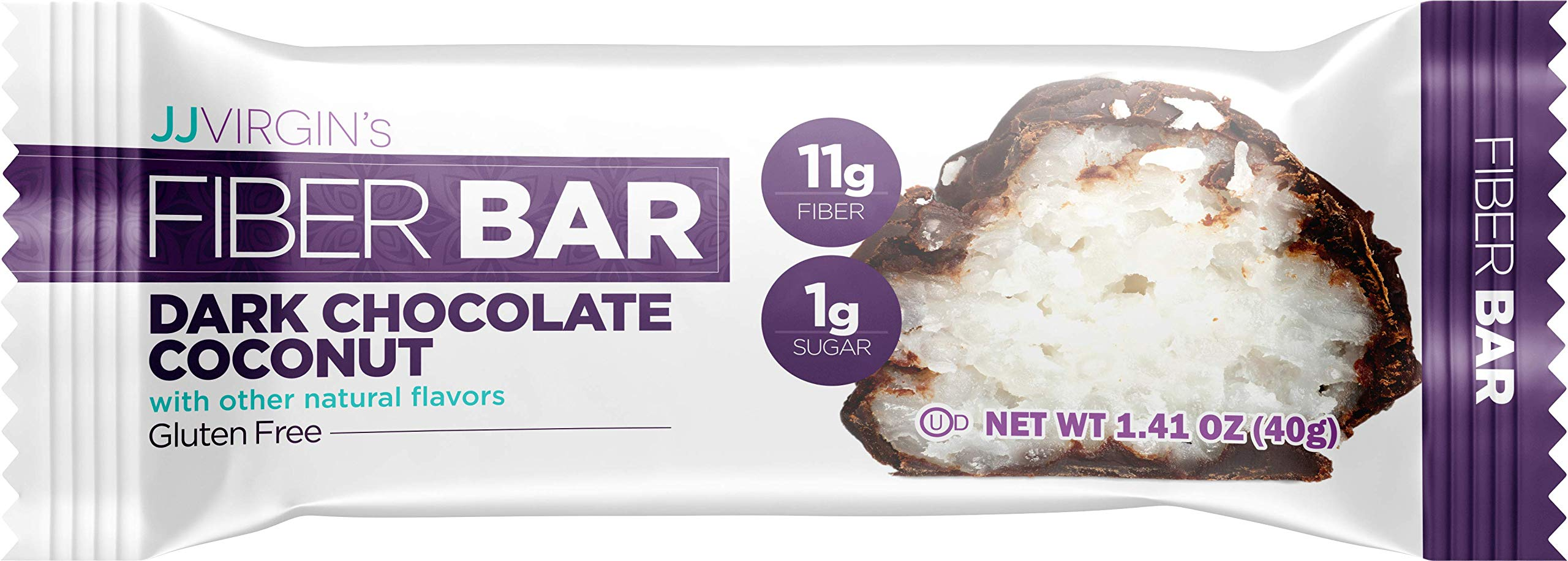 JJ Virgin Dark Chocolate Coconut Fiber Bars - 3 Net Carbs, 11 Grams of Fiber + MCT Oil (Box of 12) by JJ VIRGIN