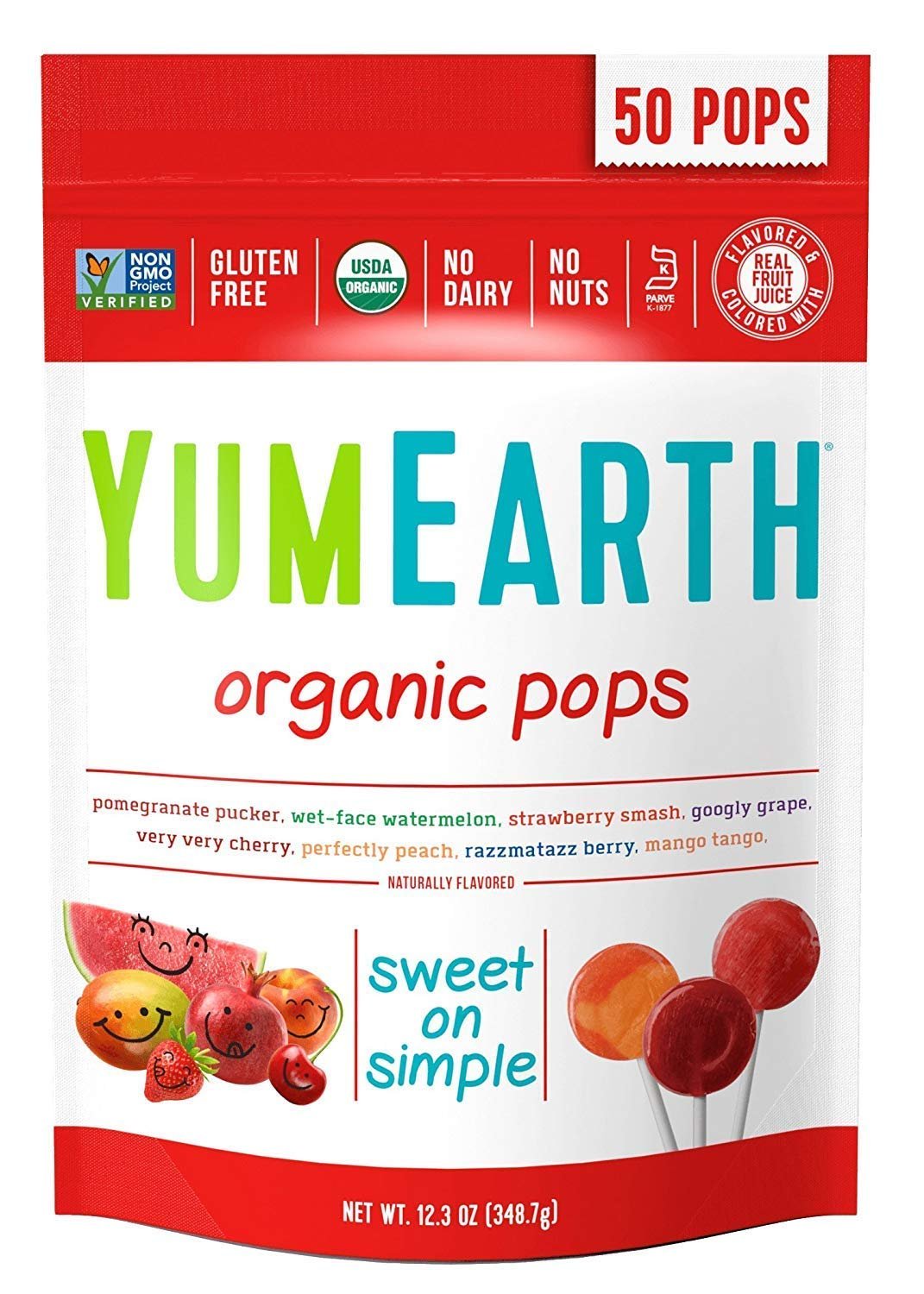YumEarth Organic Lollipops, Assorted Flavors, 50 Lollipops (2 Pack(50 Count)) by YumEarth