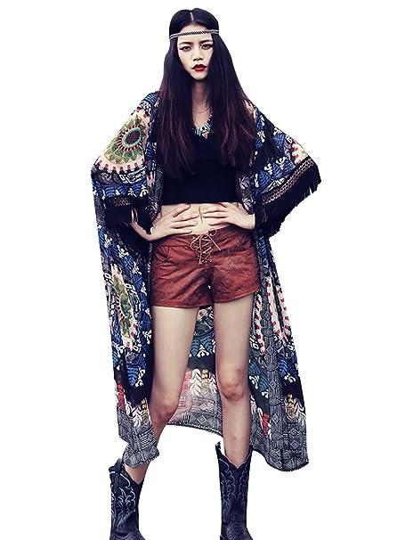 53b0f216f75e Women s Boho 3 4 Sleeves Oversize Chiffon Kimono Cardigan Beach Cover up  Blouse