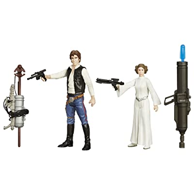 Star Wars B3961AS0 3.75-Inch Space Mission Figure, Han Solo and Princess Leia, 2-Pack