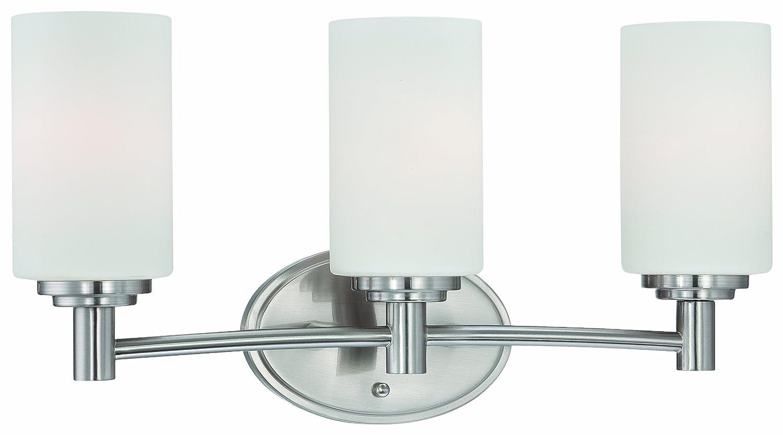 Brushed nickel bathroom light fixtures - Thomas Lighting 190024217 Pittman Bath Light Brushed Nickel Vanity Lighting Fixtures Amazon Com