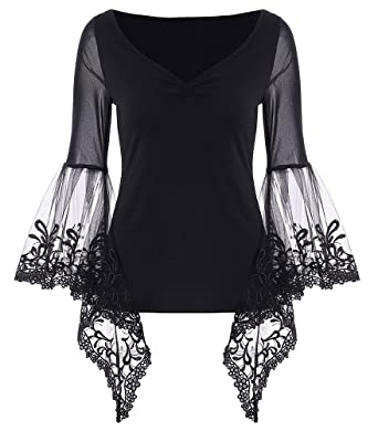 8e1ba10ab8185 JapanAttitude T-Shirt Top Noir Manches évasée Transparent avec Dentelle et  décolleté plissé - S