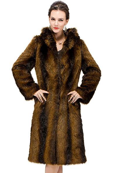 Adelaqueen Clearance Women's Full Length Faux Fur Hooded Coat ...