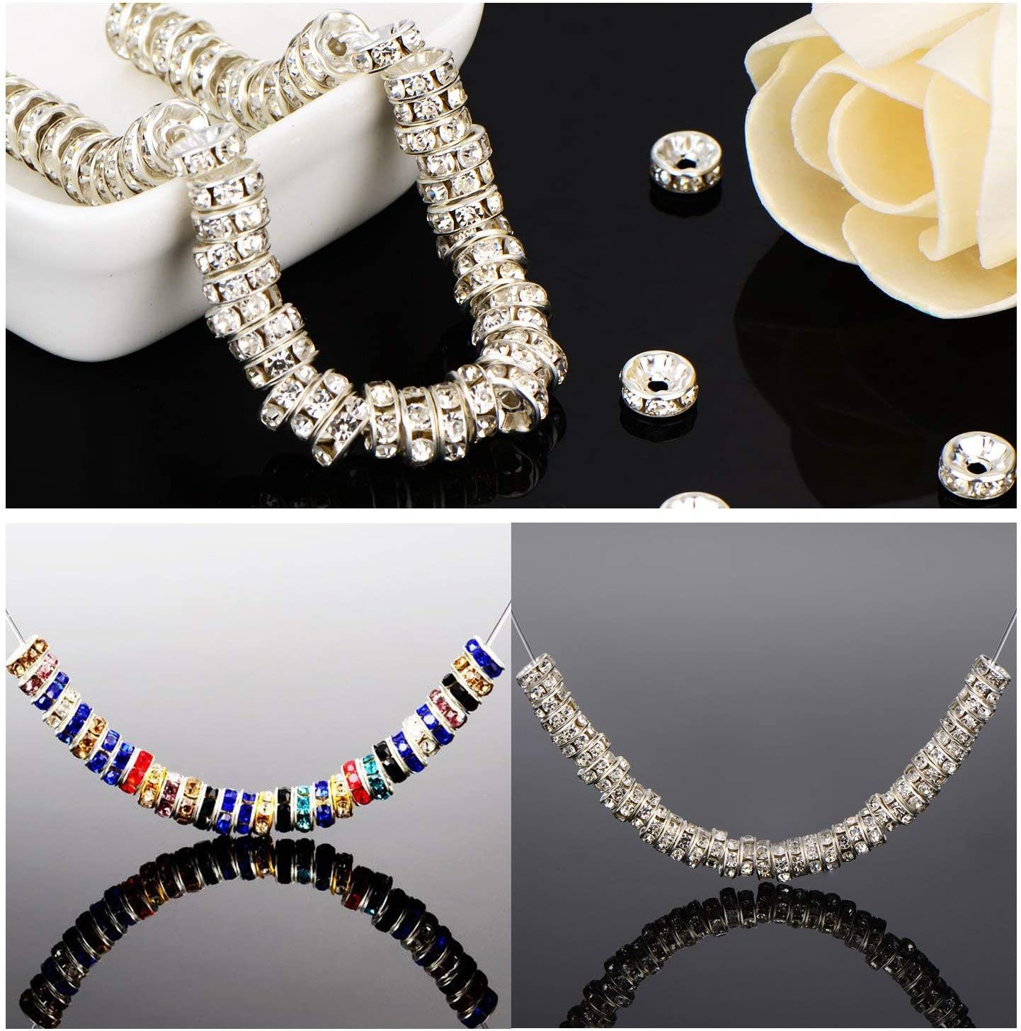Allb 100Pcs Rondelle Spacer Beads 6mm Silver Plated Czech Crystal Rhinestone for Jewelry Making Loose Beads for Bracelets