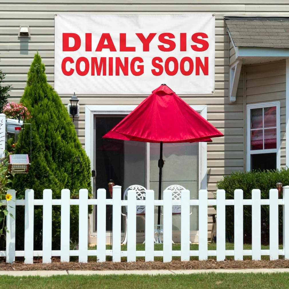 Vinyl Banner Multiple Sizes Dialysis Coming Soon Red Business Outdoor Weatherproof Industrial Yard Signs 10 Grommets 60x144Inches