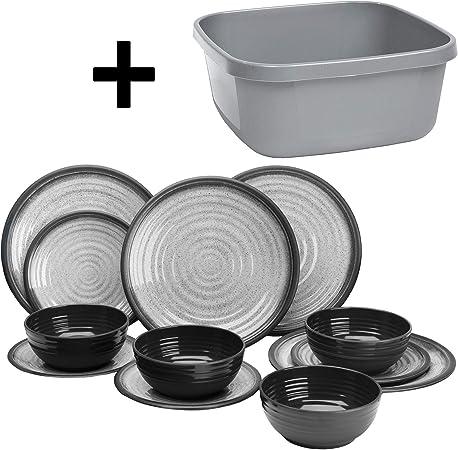 Vajilla de melamina de 12 piezas, platos y cuencos, color gris y blanco, vajilla de camping para 4 personas, picnic y camping