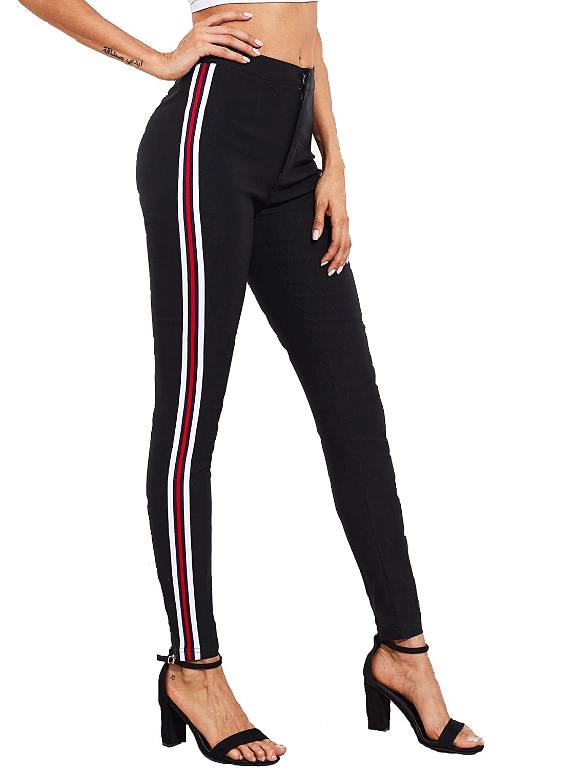 luxury aesthetic good looking size 40 POISON IVY Women's High Waist Side Striped Skinny Black Jeggings