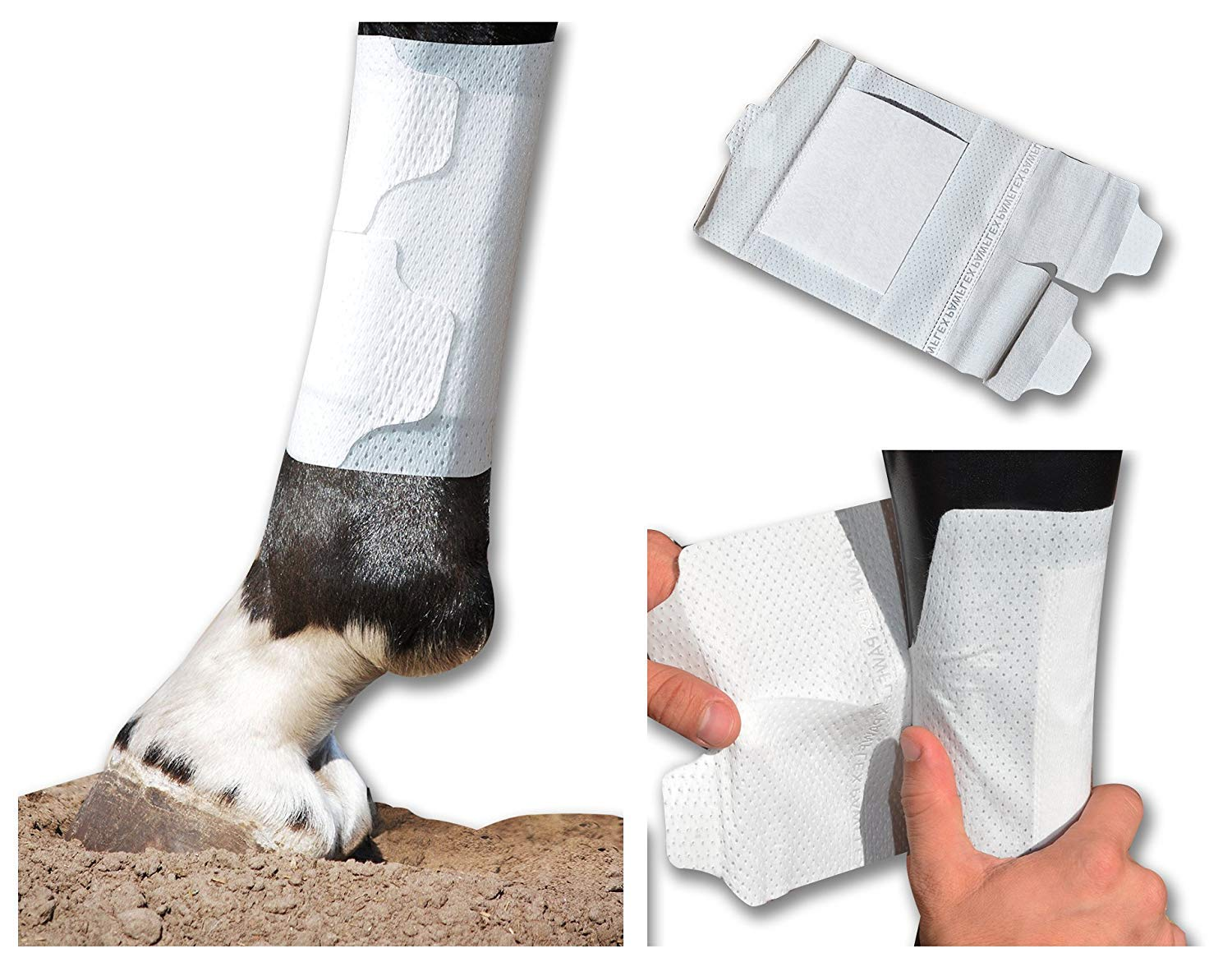 Cohesive wrap Alternative BandaFlex Horse Bandages for Lower Leg Double Catch Velcro Fasteners Super Stretch, Disposable, Washable & Breathable (Large 10 Pack - 1 Sample Small)