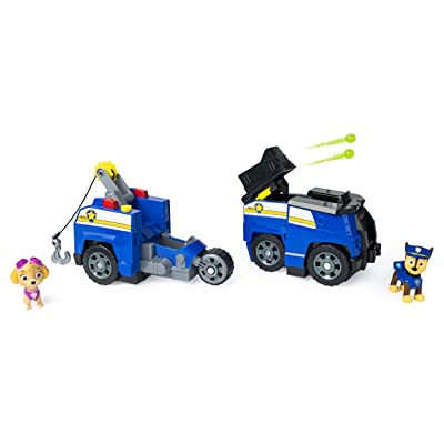 Paw Patrol, Chase Split-Second 2-in-1 Transforming Police Cruiser Vehicle with 2 Collectible Figures: Toys & Games