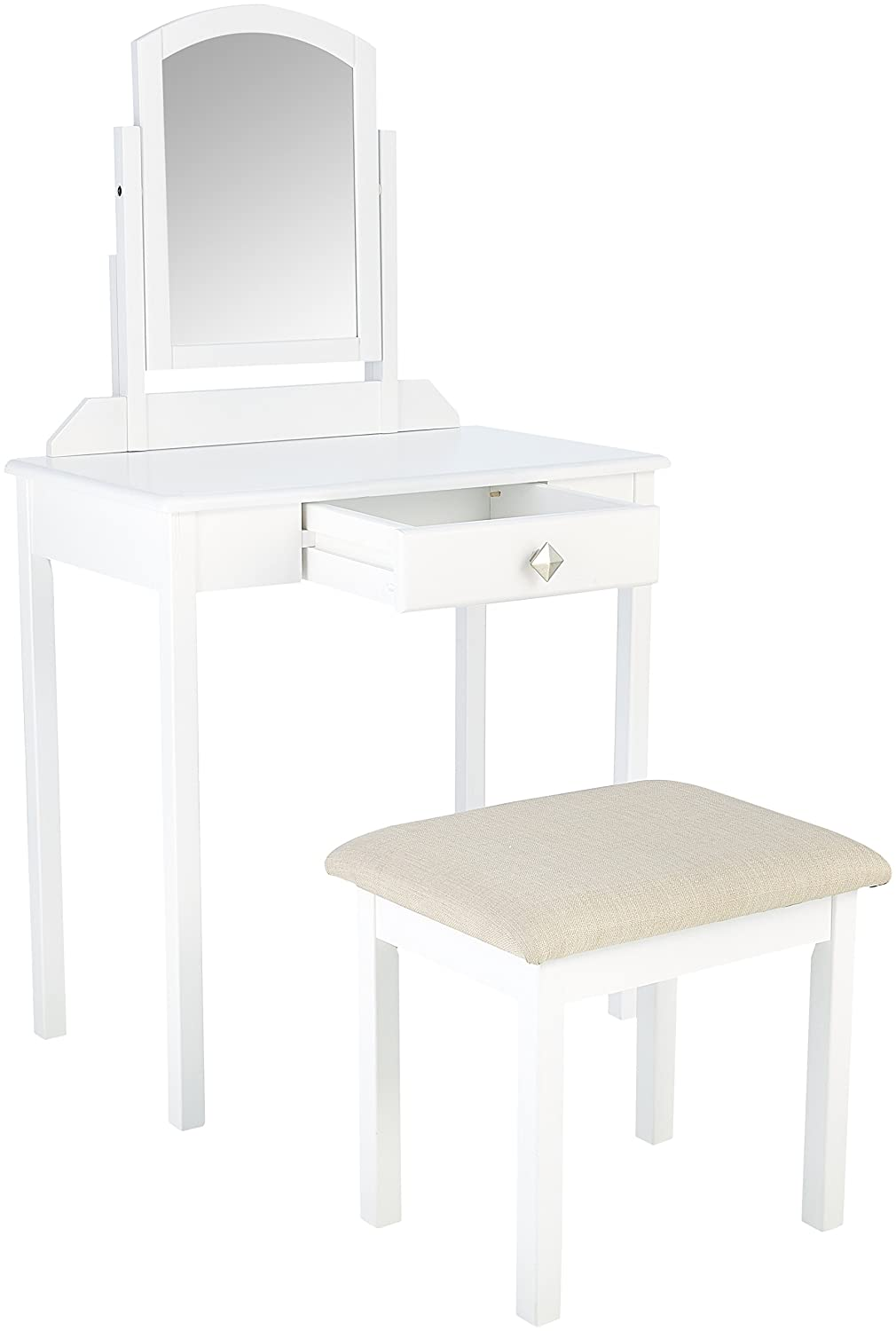 AmazonBasics Classic Compact Vanity Table Set with Stool and Mirror – White