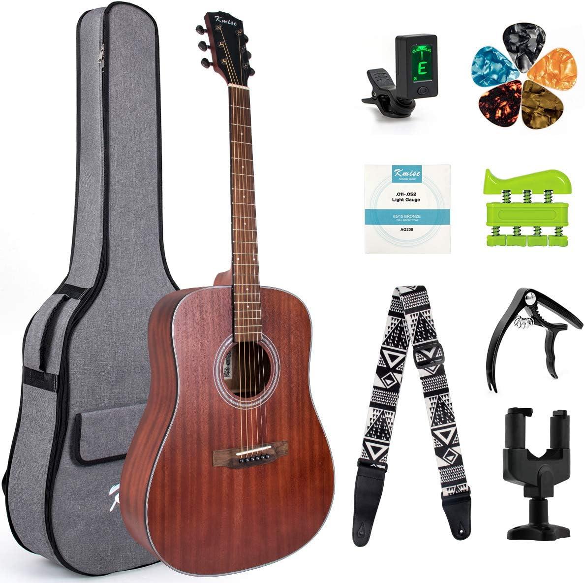 Kmise Guitarra acústica de caoba tamaño completo 41 pulgadas para estudiantes y principiantes con bolsa de concierto Tuner Strap Picks String Piezo Pickup Tools