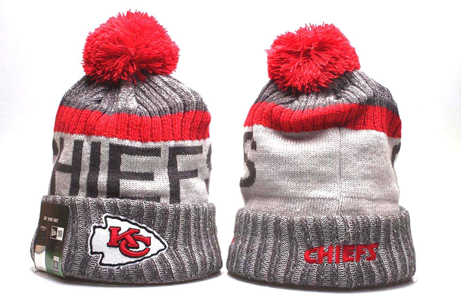 Shenyizhu Mens Knit Champs Football Team Beanie Cuffed Hat Toque Cap with Pom