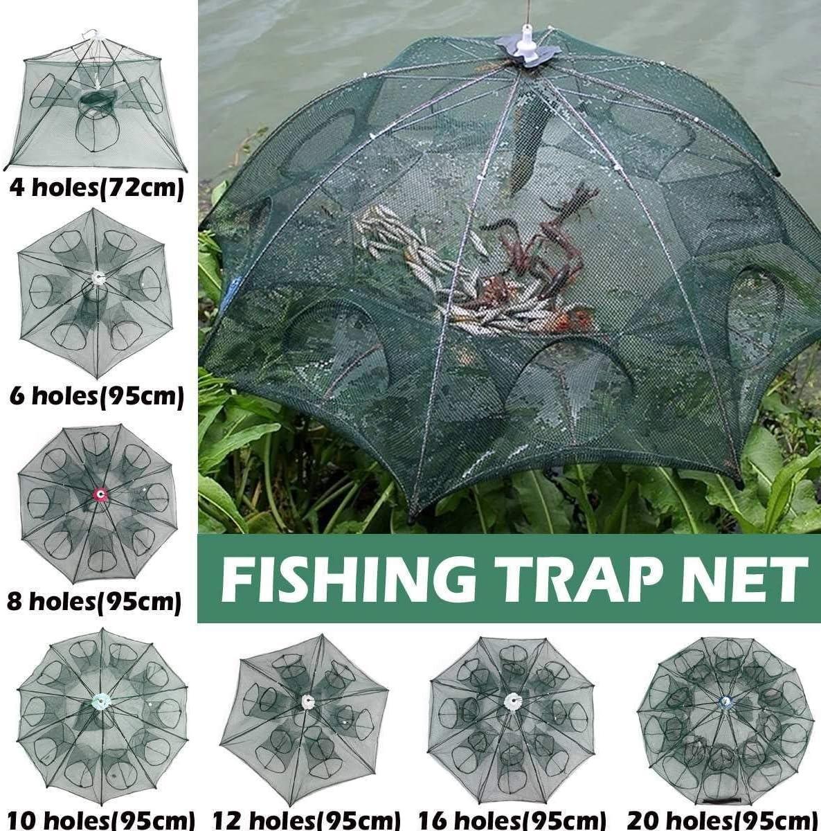 Details about  /4//6//8//10//20 Holes Automatic Folded Fishing Net Fish Shrimp Minnow Crayfish Crab