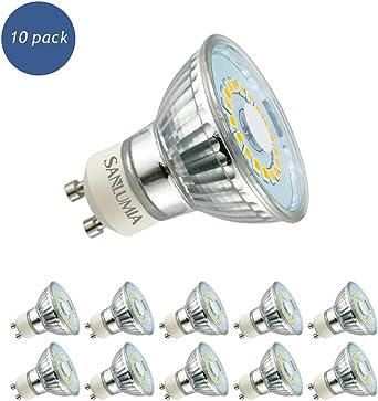 Sanlumia Bombillas LED GU10, 5W=50W Halógena, 450Lm, Blanco Frío (6400K), 120 ° ángulo de haz, Iluminación de Techo para Cocina, Oficina, o Baño, Paquete de 10, clase A+: Amazon.es: Iluminación