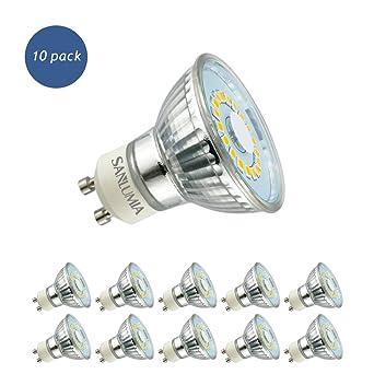 Sanlumia Bombillas LED GU10, 5W=50W Halógena, 450Lm, Blanco Cálido (3000K