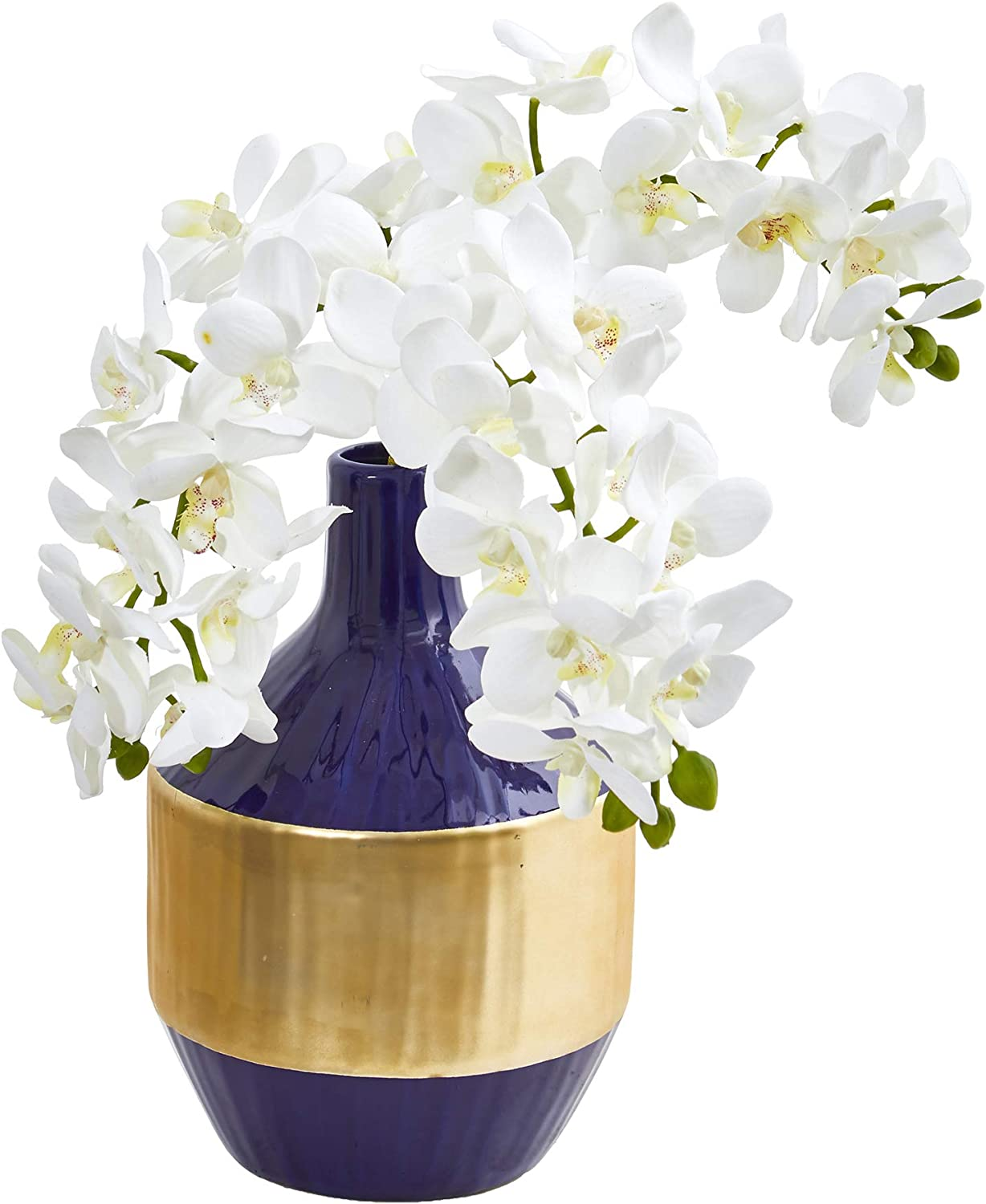 Nearly Natural Phalaenopsis Orchid Artificial in Blue and Gold Designer Vase Silk Arrangements, White