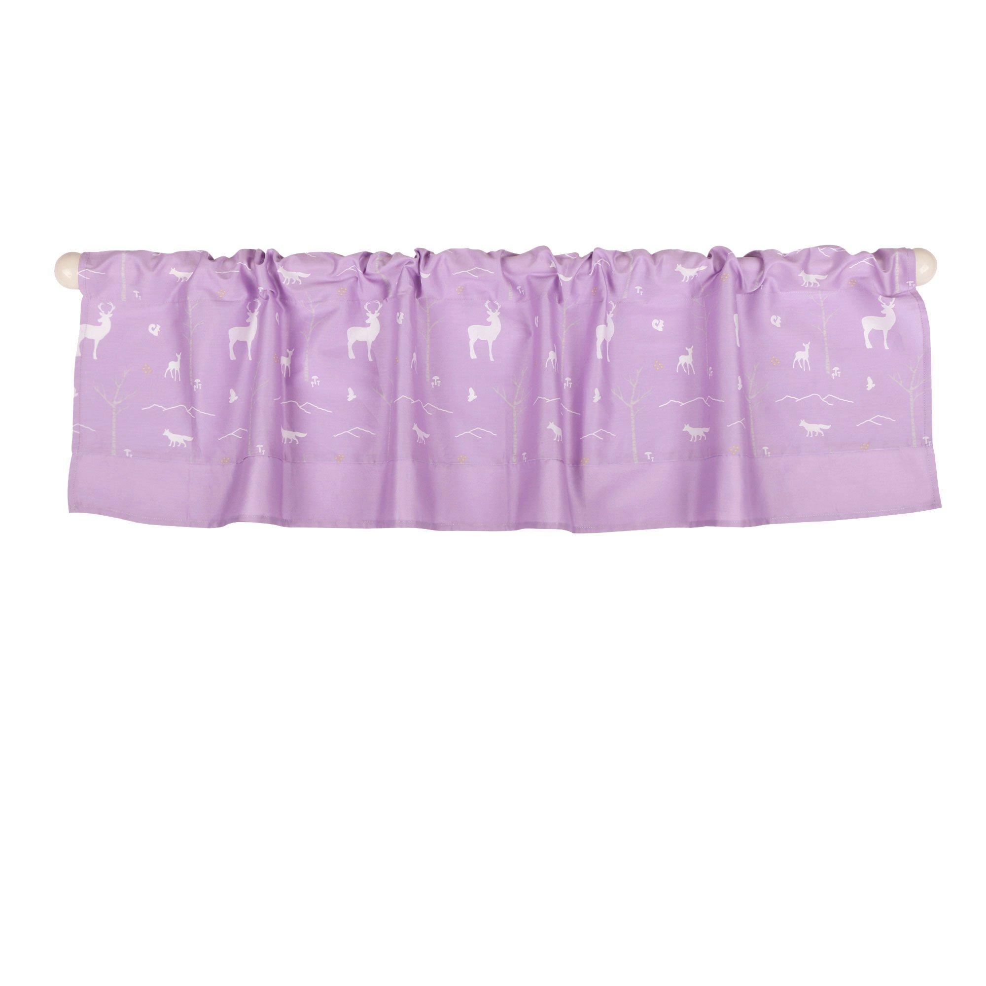 Purple Woodland Tailored Window Valance by The Peanut Shell - 100% Cotton