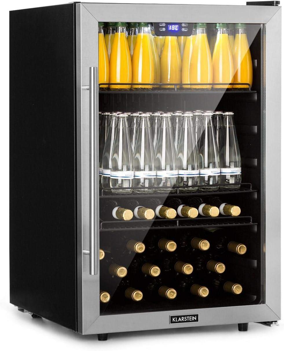 Klarstein Beersafe 5XL Nevera para bebidas - 148 L para unas 231 latas, 3 baldas de metal, Puerta de cristal, Eficiencia energética clase A+, Con ruedas, Parte frontal de acero inoxidable